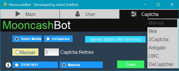 MooncashBot / Captcha Settings