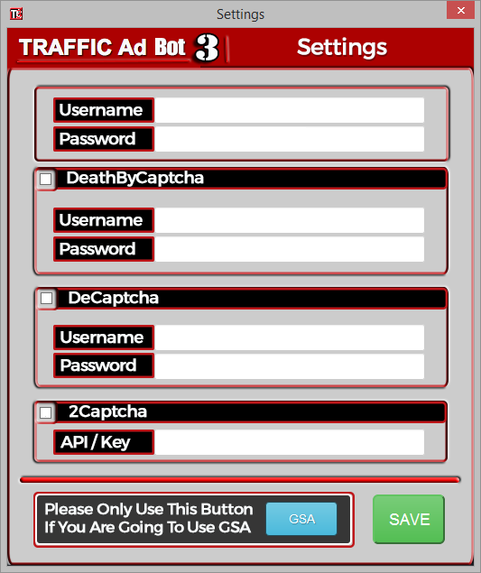 TrafficAdBot - Settings Panel - Including Captcha Services - 2Captcha, DeCaptcha, Deathbycaptcha, GSA Captcha Breaker, Captcha Sniper