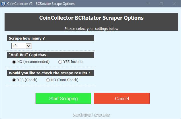 CoinCollector / BCRotator Scraper