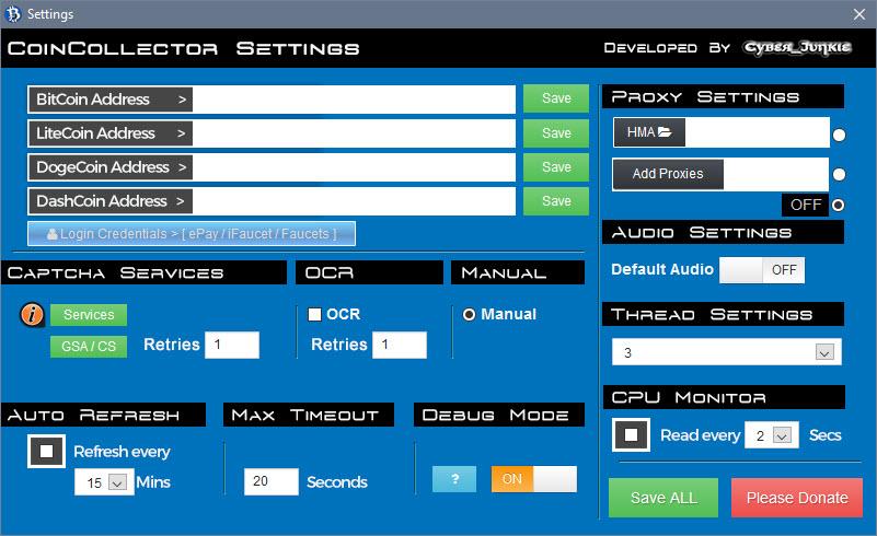CoinCollector / Settings (Refresh/CPU Monitor/HMA VPN/Proxy/Threads/Timeout/Debug)