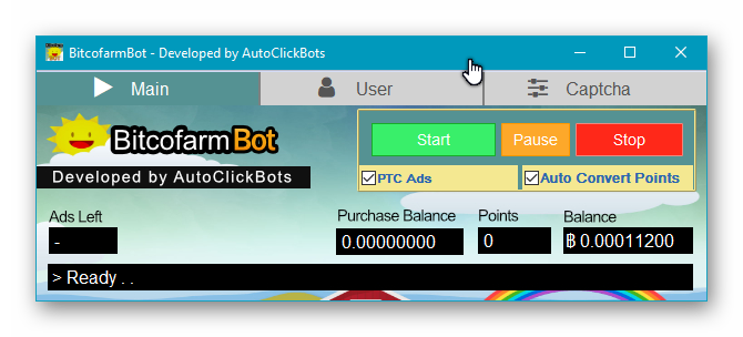 BitcofarmBot / Main UI