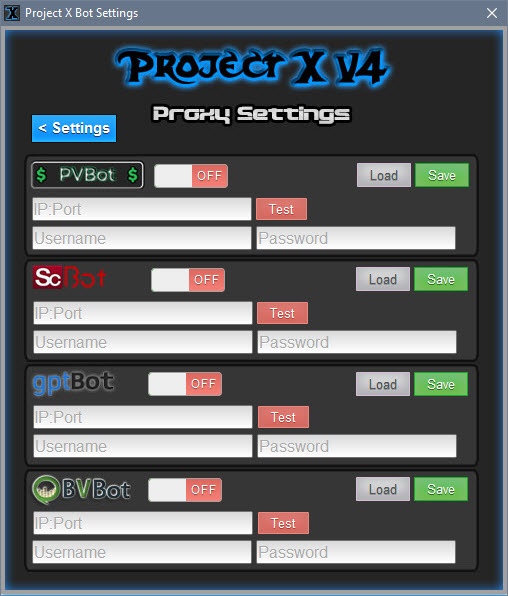 Project X V4 / Proxy Settings Panel