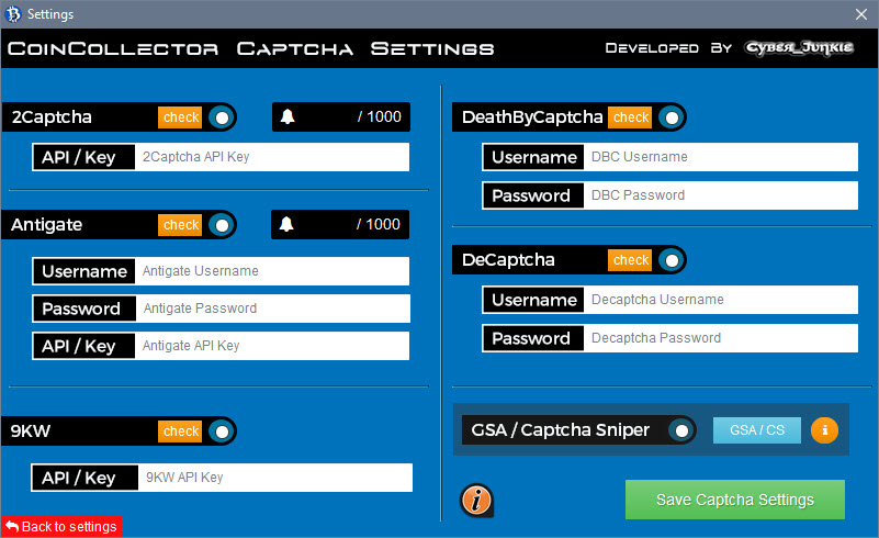 CoinCollector / Captcha Settings + OCR