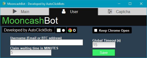 MooncashBot / User Settings